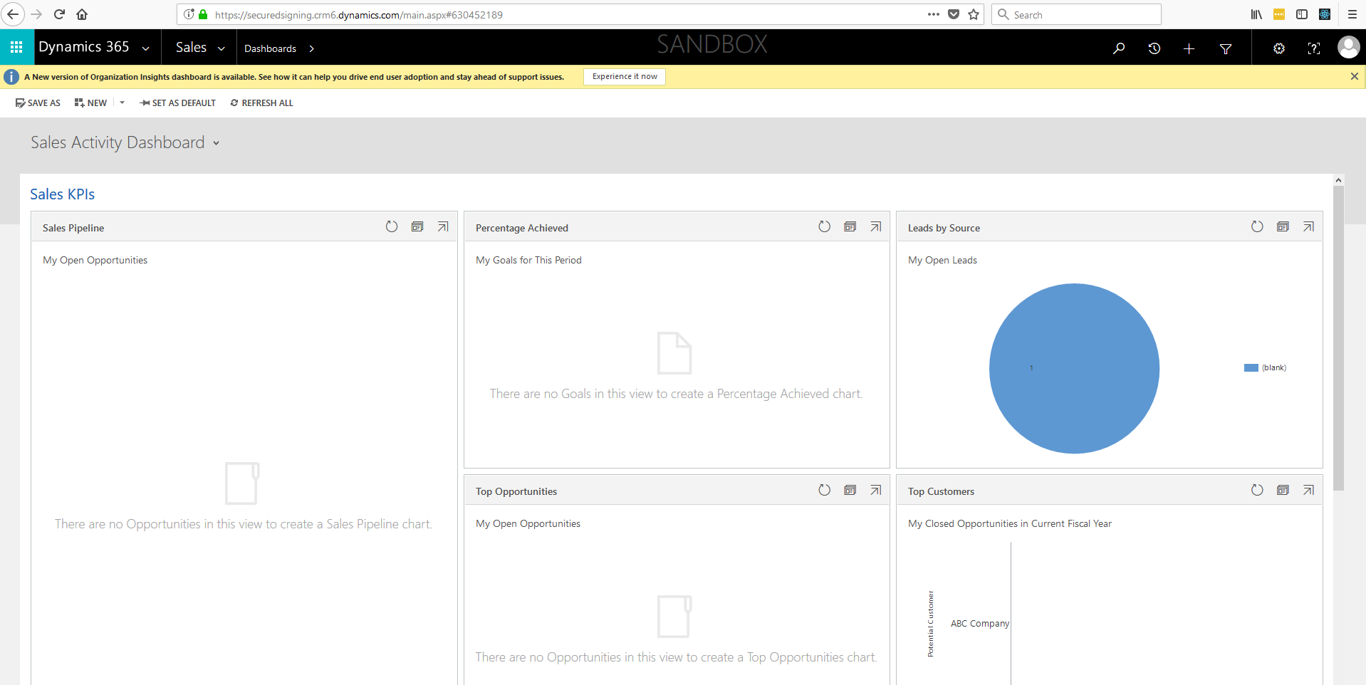 Secured Signing - Open your CRM365 instance in the web browser