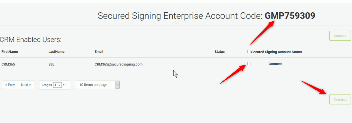 Connect CRM users to Secured Signing
