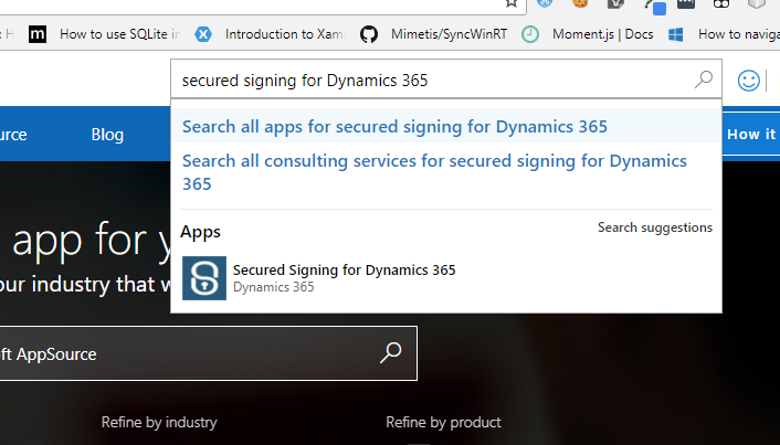 Search 'Secured Signing for Dynamics 365'