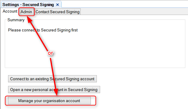 Secured Signing - Navigate to admin page in Secured Signing Settings