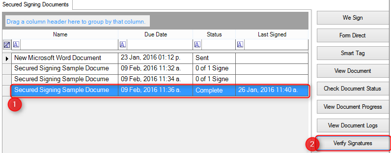 Verify signatures in document