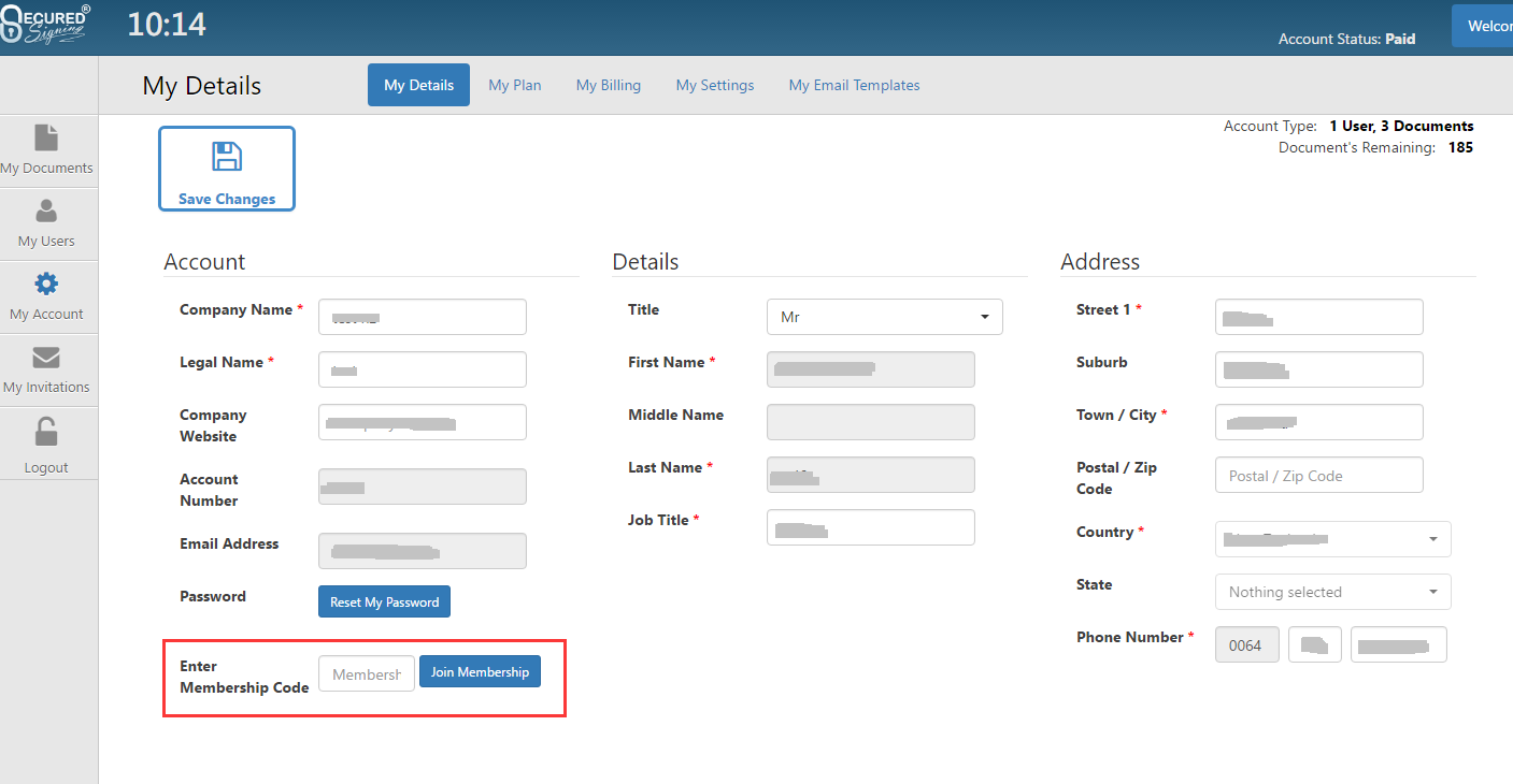 Configuring Single Sign On form Secured Signing using Azure