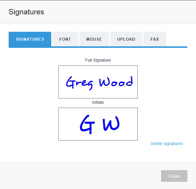 Use the Font option to capture your e-Signature
