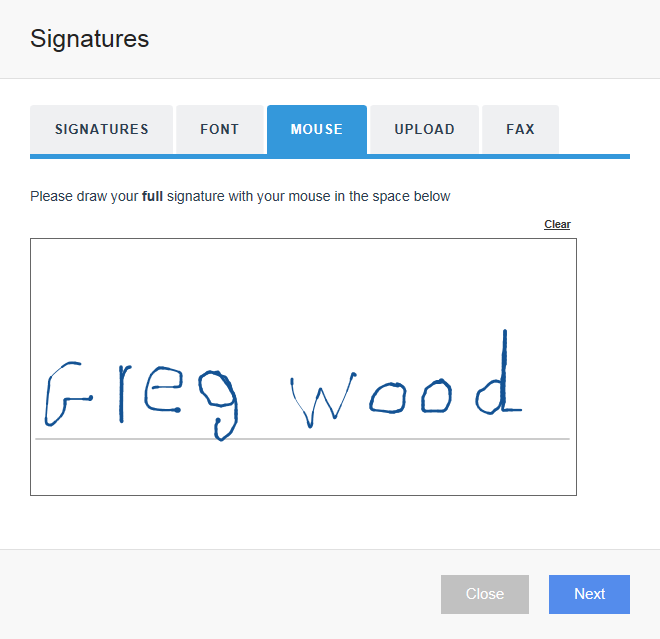 Upload your graphical signature sample froman image or document